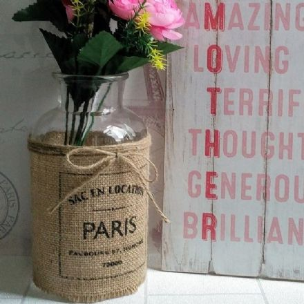 50% off Hessian Sleeve Rustic Glass Display Bottle Vase